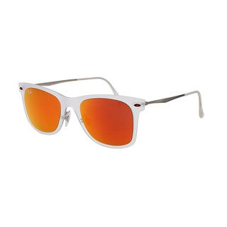 Ray Ban Wayfarer Light Ray RB4210 Unisex White/Silver Frame Red Mirror Lens Sunglasses