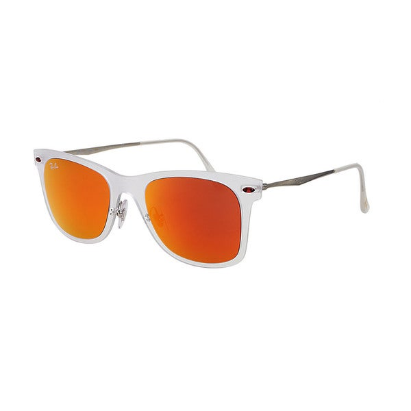 2f63996275f83 Ray Ban Wayfarer Light Ray RB4210 Unisex White Silver Frame Red Mirror Lens  Sunglasses