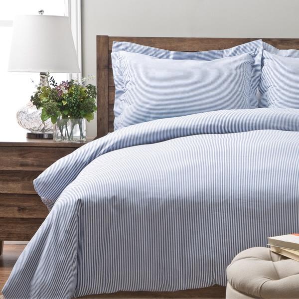 Oxford Stripe 100 Percent Cotton Yarn Dyed 3 Piece Duvet