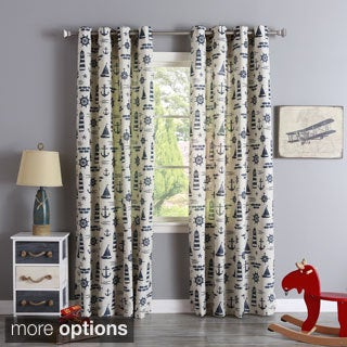 Aurora Home Linen Blend Maritime Print Grommet Top Curtain Panel Pair