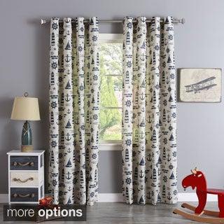 Aurora Home Linen Blend Maritime Print Grommet Top Curtain Panel Pair