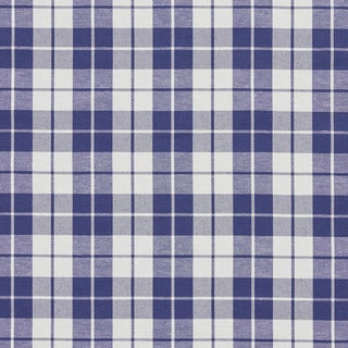Denim Blue and White Plaid Cotton Heavy Duty Upholstery Fabric