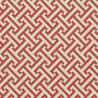 A205 Pink And Off White Greek Key Outdoor Print Upholstery Fabric