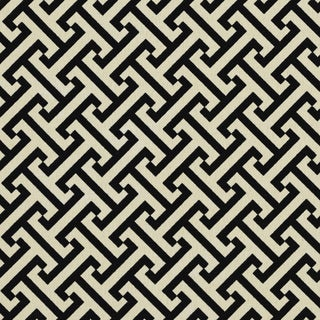 Black And Off White Greek Key Outdoor Print Upholstery Fabric