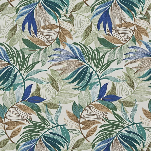 Shop Teal Beige And Green Vibrant Leaves Outdoor Print Upholstery