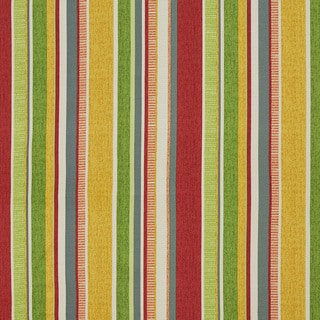 Green Yellow Red And Blue Striped Outdoor Print Upholstery Fabric