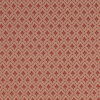 A471 Coral and Tan Diamond Clover Leaf Upholstery Fabric