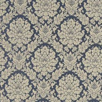 A451 Tan and Navy Blue Two Toned Floral Brocade Upholstery Fabric