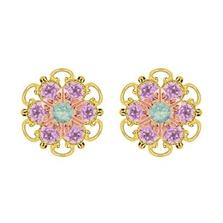 Lucia Costin Rose Gold Over Sterling Silver Mint Blue/ Lilac Crystal Stud Earrings