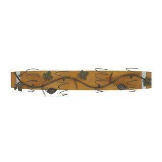 Benzara Wood Metal Wall Wine Holder