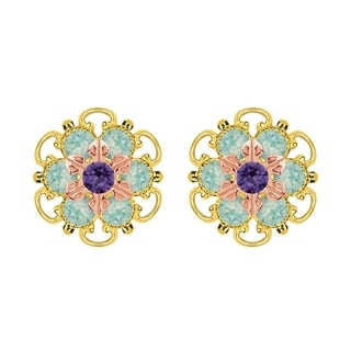 Lucia Costin Rose Gold Over Sterling Silver Mint Blue/ Violet Crystal Stud Earrings