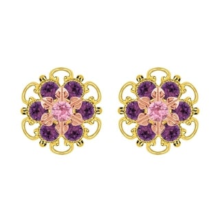 Lucia Costin Rose Gold Over Sterling Silver Light Pink/ Violet Crystal Stud Earrings