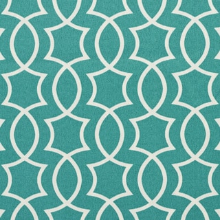 A279 Teal and White Lattice Outdoor Print Upholstery Fabric