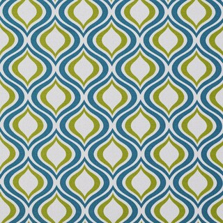 Teal and Light Green Geometric Ovals Outdoor Print Upholstery Fabric
