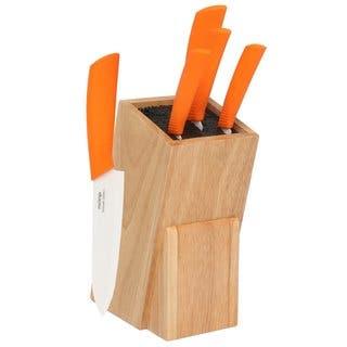 Melange 6-piece Orange Ceramic Knife Set with Wooden Universal Knife Block https://ak1.ostkcdn.com/images/products/10289356/P17403754.jpg?impolicy=medium