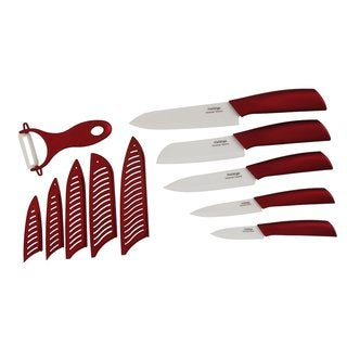 Melange 11-piece Metallic Red Ceramic Knife Set