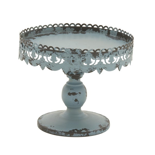 Antique Blue Metal Cake Stand