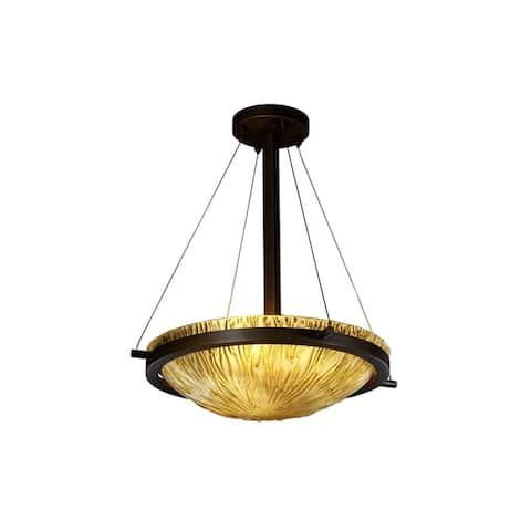 Justice Design Veneto Luce Ring 3-light Dark Bronze Round Bowl Pendant, Amber Shade