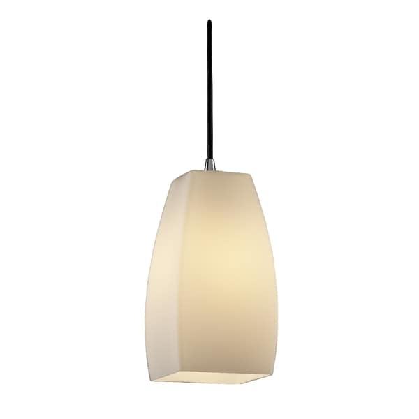 Justice Design Group Fusion 1-light Polished Chrome Pendant, Opal Tall Tapered Square Shade