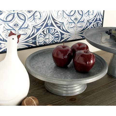 Farmhouse 4 x 13 Inch Round Pedestal Cake Stand by Studio 351 - Silver