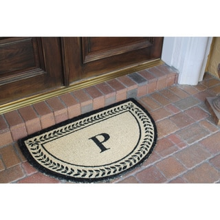 First Impression Half-round Leaf Border Decorative Door Mat-monogrammed