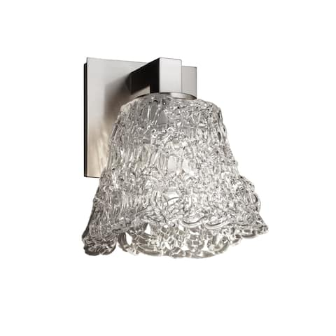 Justice Design Veneto Luce Modular 1-light Brushed Nickel Wall Sconce, Lace Square Flared Shade
