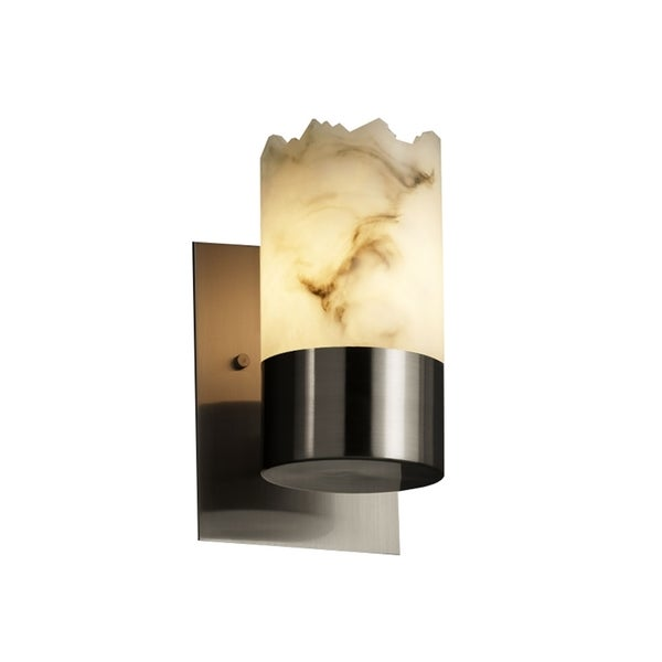 Justice Design Group LumenAria 1-Light Pendant Antique Brass Finish with Faux Alabaster Resin Shade