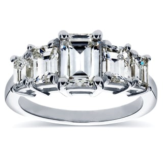 Annello by Kobelli 14k White Gold Emerald-cut Moissanite and 1 1/3ct TDW Diamond Five Stone Engageme