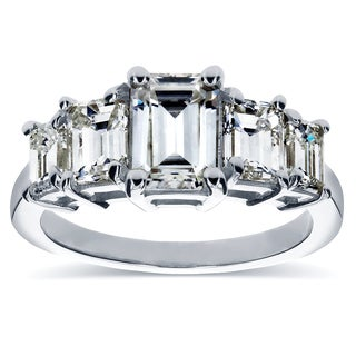 Annello by Kobelli White Gold Moissanite (HI) and 1 1/3ct TDW Diamond Engagement Ring (H-I, SI)
