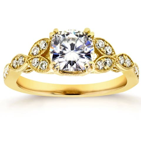 Annello by Kobelli 14k Yellow Gold 1 1/3ct TGW Cushion-cut Moissanite and Diamond Vintage Floral Engagement Ring