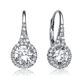 Link to Collette Z Sterling Silver with Rhodium Plated Clear Round Cubic Zirconia Halo Leverback Earrings Similar Items in Earrings