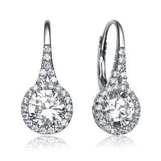 Collette Z Sterling Silver with Rhodium Plated Clear Round Cubic Zirconia Halo Leverback Earrings