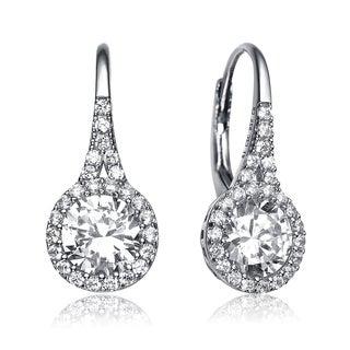 Collette Z Sterling Silver Cubic Zirconia Round Halo Drop Earrings