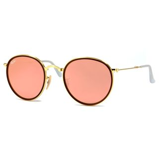 Ray-Ban Folding Round RB3517 Gold Frame Pink Mirror Lenses