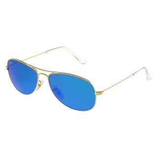 Ray-Ban RB3362 Cockpit Sunglasses Gold Frame Blue Flash Lens