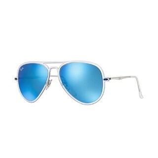 Ray Ban New Aviator Light Ray II Blue Mirror Lenses 56mm Sunglasses
