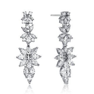 Collette Z Sterling Silver Cubic Zirconia Elegant Cluster Dangling Earrings