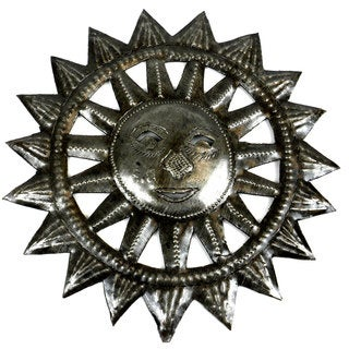 8-inch Haitian Steel Drum Sun Face Wall Art (Haiti)