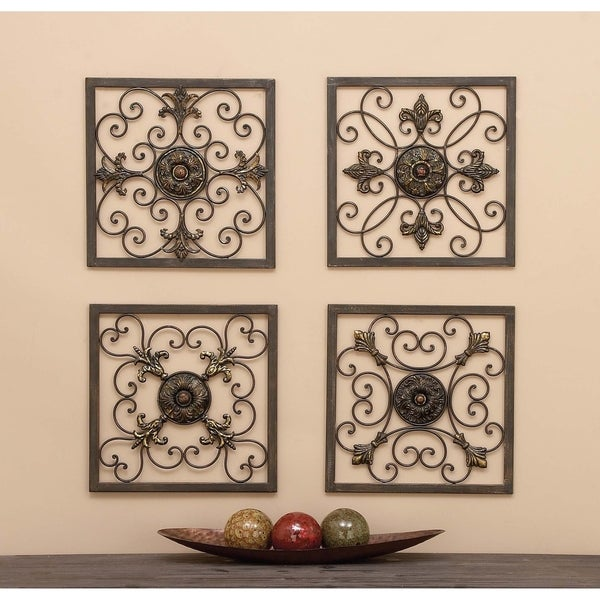 shop set of 4 traditional framed scrollwork wall plaques by studio