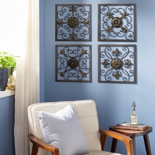 Set of 4 Traditional Framed Scrollwork Wall Plaques by Studio 350 - Multi-color