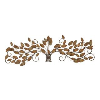 47-inch Gathered Leaves On Iron Wire Branches Wall Sculpture