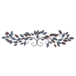 51-inch Brown And Blue Hue Metal Leaves On Iron Wire Branches Wall Sculpture
