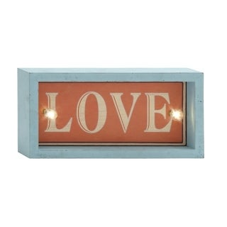 12-inch Love Turquoise/ Red Led Wall Sign