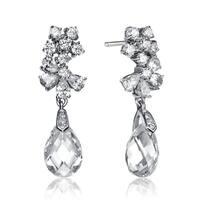 Collette Z Sterling Silver Cubic Zirconia Elegant Dangling Earrings