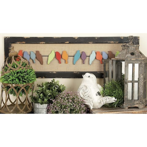 Eclectic 12 Inch Wood and Burlap Birds on Wire Decor by Studio 350
