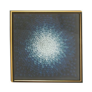 42-inch Framed Blue Squared Fabric