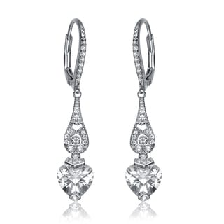 Collette Z Sterling Silver Cubic Zirconia Long Heart Dangling Earrings