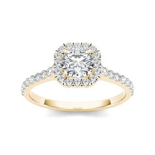 De Couer 14k Yellow Gold 7/8ct TDW Diamond Halo Engagement Ring (H-I, I2)