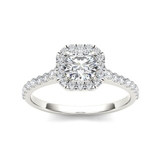 De Couer 14k White Gold 7/8ct TDW Diamond Halo Engagement Ring