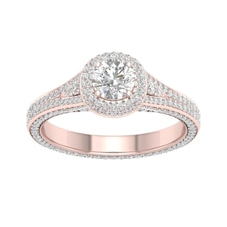 De Couer 14k Rose Gold 1 1/4ct TDW Diamond Split-Shank Halo Engagement Ring (H-I, I2)
